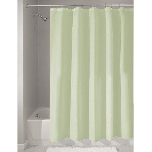 iDesign Duschvorhang aus Stoff | wasserdichter Duschvorhang mit verstärktem Saum | waschbarer Textil Duschvorhang in der Größe 183,0 cm x 183,0 cm | Polyester grün