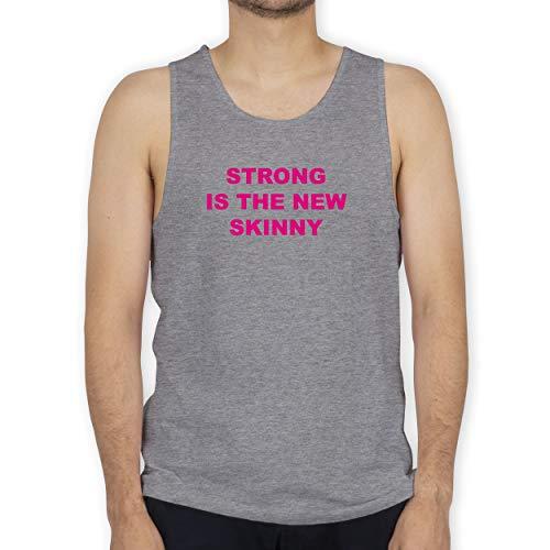 Shirtracer Fitness & Workout - Strong is The New Skinny - XL - Grau meliert - Pink - BCTM072 - Tanktop Herren und Tank-Top Männer
