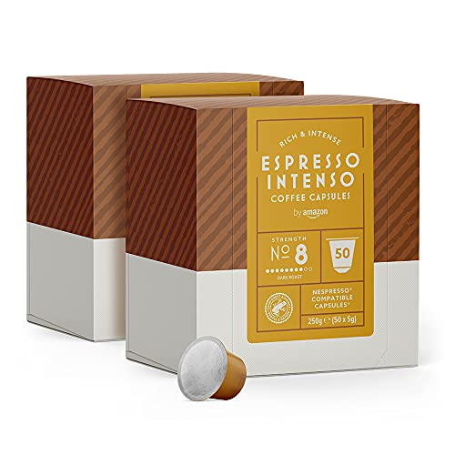 by Amazon Espresso-Intenso-Kaffeekapseln, passend für Nespresso, 100Kapseln (2 x 50)
