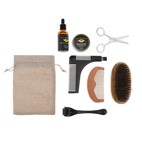 joyMerit 1 Juego de Kit para El Cuidado de La Barba para Hombres, Suaviza, Suaviza, Suaviza, Peine de Melocotón, Crema para Barba