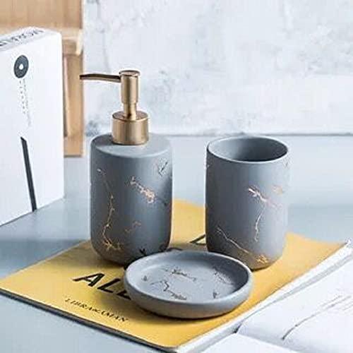 FülleMore Set di accessori da bagno in ceramica, effetto marmo, 3 pezzi, set di accessori da bagno, dispenser di sapone, portasapone, bicchiere per spazzolino (grigio)