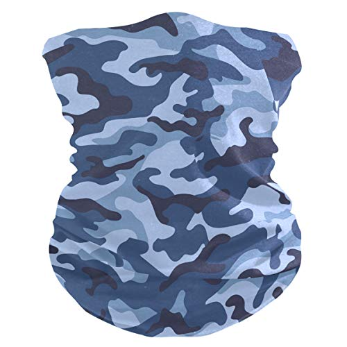 Qilmy Blue Military Camouflage Protection Anti Droplet Face Mask with 2 Filters Summer UV Neck Gaiter Scarf Sunscreen Breathable Bandana for Sport&Outdoor