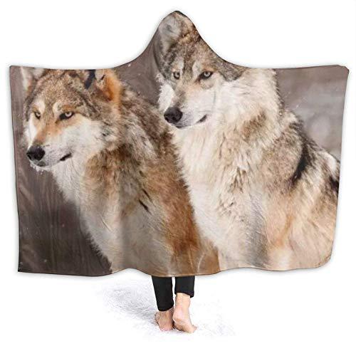 Lawenp Alarm Wolf Print Hooded Blanket Throw, Mikrofaser Super Soft Fleece Blankets Hoodie Throw 50 'X40'