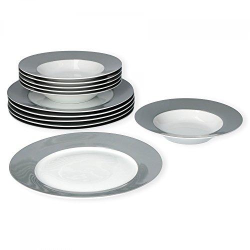 Van Well Tafelservice 12-tlg. für 6 Personen Serie Vario Porzellan - Farbe wählbar, Farbe:grau