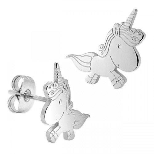 SoulCats® Pendientes unicornio hechos de acero inoxidable para niños
