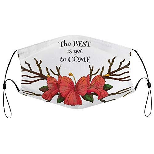DKISEE Fashion Unisex Staubmaske mit Filterelement, verstellbare Ohrschlaufe, Gesichtsmaske, Outdoor-Schutzmaske (Wasserfarben-Hörner mit roten Blumen und motivierendem Zitat)
