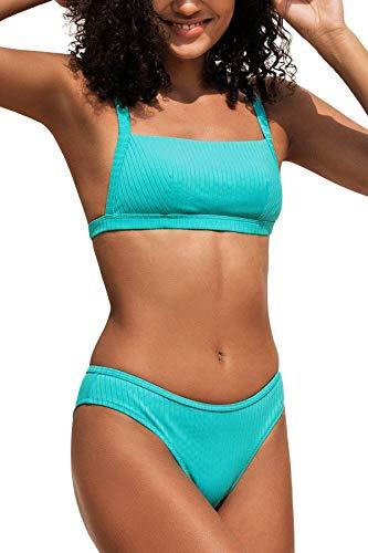 CUPSHE Conjunto de Bikini para Mujer Bandeau Ribbed Aqua Azul Traje de Baño de Dos Piezas, L