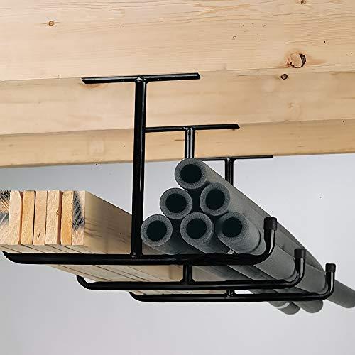 "Overhead Garage Storage Rack - Heavy Duty Double Ceiling Hooks Utility Mounted Hangers 16.5"" Arm Length 2 Pack, Black"
