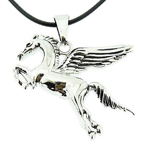 Vrouwelijke ketting - vrouw - eenhoorn - vrouw - meisje - gevleugeld paard - pegasus - origineel cadeau-idee - zwart kant - verjaardag - kerstmis - sieraden - sierraden - zilver