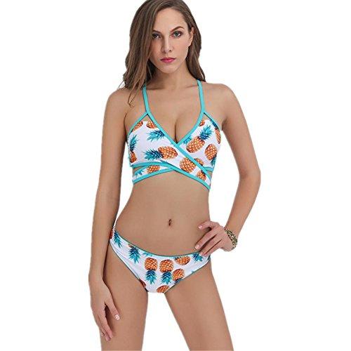 SZH YIBI Dame Bikini Damen Bademode Ananas Print Kreuz Gürtel Bikini hoch elastischen europäischen und amerikanischen Stil, Pineapple Printing, l