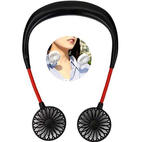MOGOI Tragbarer Nackenventilator, tragbar, tragbar, persönlicher Ventilator mit USB wiederaufladbar & 3 Geschwindigkeitskontrolle, verstellbar für Reisen, draußen, drinnen und draußen Schwarz