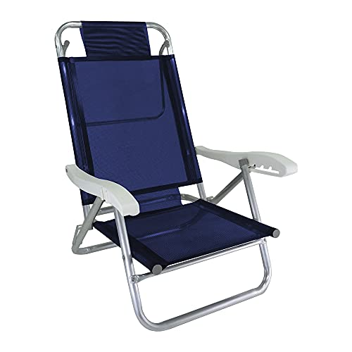 Cadeira de Praia Alumínio Reforçada 5 Posições Banho de Sol Marinho Zaka 120 KG