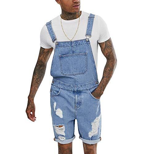 Shujin - Pantalones Vaqueros Cortos para Hombre, con Peto y Tirantes Hellblau B XXXL