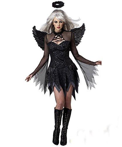 InCharacter Kostüme Damen Fallen Dark Angel Dress New Movie Kostüm Hallowmas Cosplay, Dekolletiertes, Schwarz XX-Large