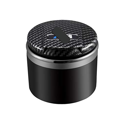StoreBao Cenicero de coche con LED exclusivamente para BMW Serie 1/3/5 y X1/X3/X5/X6 (fibra de carbono)