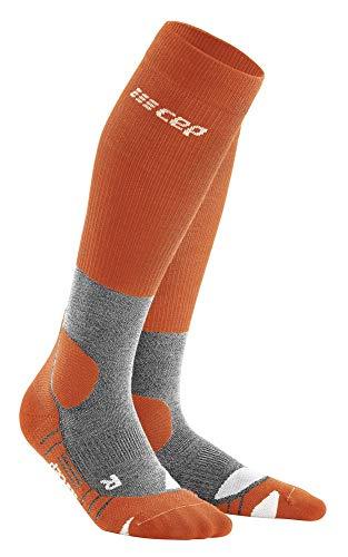 CEP – HIKING MERINO SOCKS REDESIGN für Damen | Knielange Wandersocken mit Kompression in Sunset / Grey | Größe IV