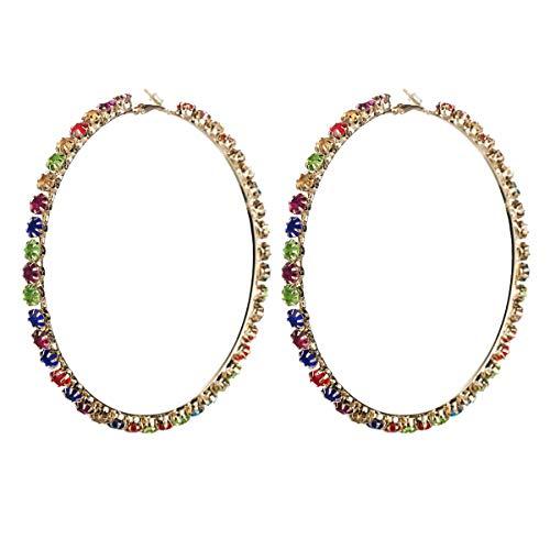 Pendientes Europa y Estados Unidos Diamantes de Colores aretes de círculo Grande Anillo Exterior aretes de Diamantes Pendientes Salvajes de Moda Retro con Color de Mujer