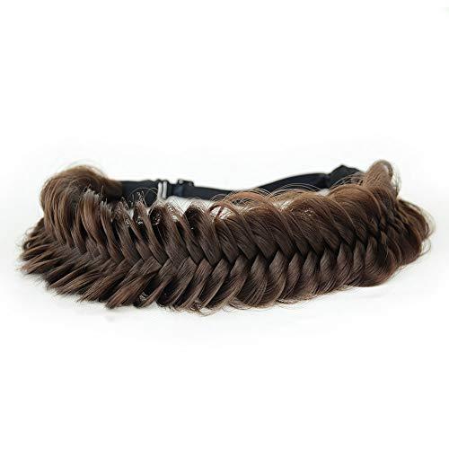 BOBIYA Breites Fischschwanz-Haarband aus Kunsthaar, geflochten, klassisch, grob, geflochtene Zöpfe, elastisch, elastisch, für Damen und Mädchen, Beauty-Accessoire (Schokolade)
