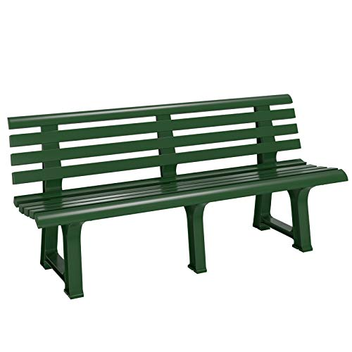 Casaria Banco de jardín Verde Resistente a la Intemperie para 3 Personas 145x49x74 cm de plástico Duradero con Respaldo