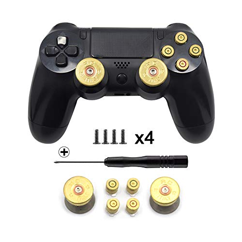 TOMSIN Gold Metal Bullet Buttons & Bullet Analog Thumbstick for PS4 Controller Playstation 4 DualShock4