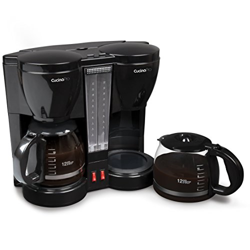 CucinaPro Double Coffee Brewer Station - Dual Coffee Maker Brews two 12-cup Pots, each with Individual Heating Elements, Great for Mother's Day