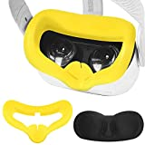 VR Silicone Face Cover Mask Combo with Protective Lens Cover for Oculus Quest 2 Facial Cover Sweatproof Lightproof Anti-Leakage (Yellow)