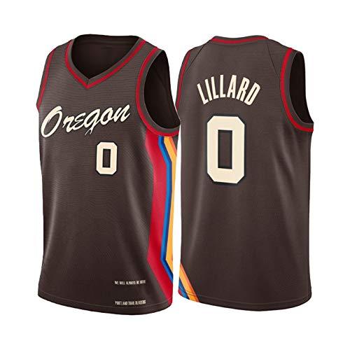 QPY Damian Lillard Jerseys da baskey per Uomo, 2020-21 Portland Trail Blazer Damian Lillard # 0 Swingman City Edition Jersey - Versione Ricamata di Cioccolato (S-XXL) S