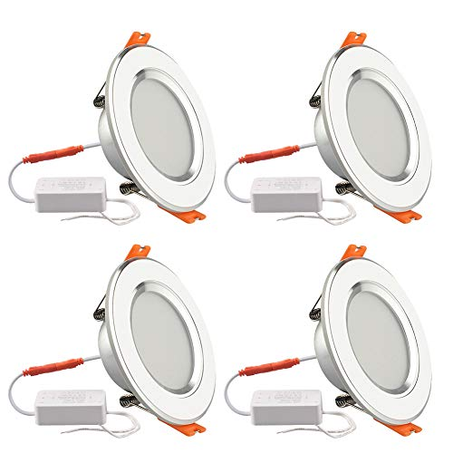GALYGG 3 Color Changing LED Downlight, Recessed Lighting Trim Conversion Kit, 3 Inch Ceiling Fixture Light, 280LM 3000K-6500K 4W ( 25W Equivalent ) for Under Cabinet Kitchen Bedroom, White - 4 Pack
