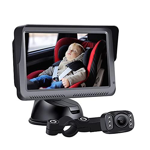 Monitor De Bebé Para Automóvil Con Cámara, Espejo De Asiento Trasero Para Bebés Espejo De Automóvil De Bebé De 5 '', Pantalla De Espejo De Automóvil Con Vista Nocturna HD, Cámara De Asiento Seguridad
