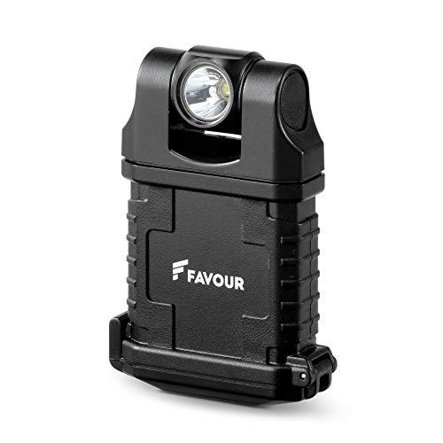 Favour LED-bouwlamp met Micro-USB-accu en magnetische clip - Zwenkbare lampkop en waterdichte stalen behuizing, robuust voor bouwplaatsen en werkplekken