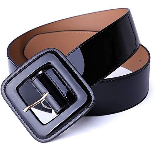 Mujeres Señora Cintura Decorativa Vestido Abajo Chaqueta Cinturón Ancho Cinturón Cuero Patente Mujeres es Cintura Ancho Negro (Color : Black)