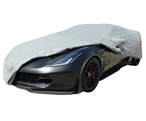 XtremeCoverPro Car Cover Custom Fit Series for Chevrolet Chevy Corvette Coupe Convertible C7 2014~2018 – UV Resistant – Breathable Fabric (Waterproof Gold Series Gray)