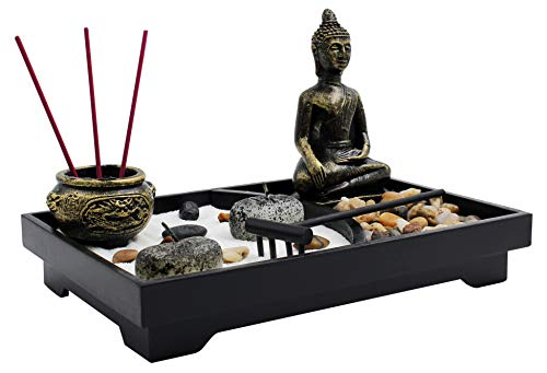 Royal Brands Zen Garden with Buddha, Rake, Rock Candle, and Incense Holder – Peace and Tranquility (9'x6'x7')