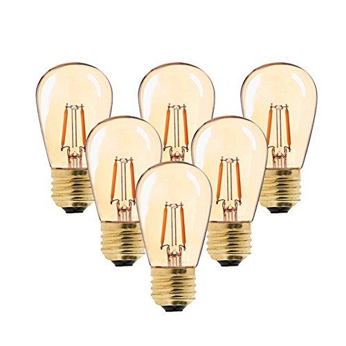 6er-Pack S14 Edison Vintage-1W LED-Glühlampe,2200K Warmweiß,Mittel Schraube E27, getönter Glasbeschichtung,100 Lumen Ersetzt 10 Watt Glühlampen, CRI90,nicht dimmbar