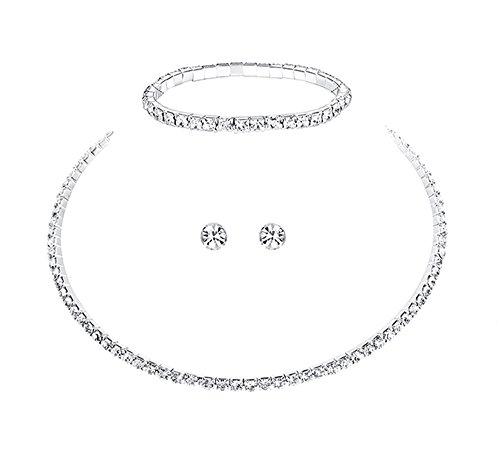 Unbekannt 3 TLG. Set Collier Halskette Ohrringe Armband Strass Brautschmuck Hochzeit Braut SCHMUCK Hochzeit