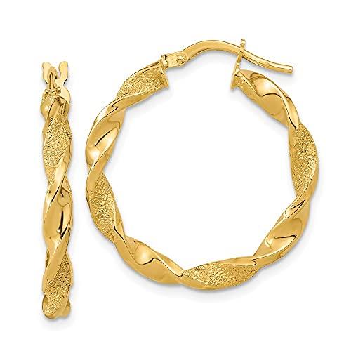 Pendientes de aro trenzado de oro pulido y texturizado de 14 quilates, medidas de 25,75 x 25,5 mm de ancho, 3 mm de grosor, regalos para mujeres
