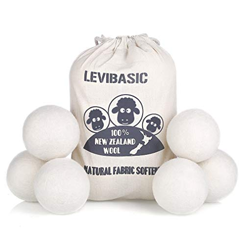 Wool Dryer Balls 6 Pack XL, 3' Genuine New Zealand Wool to Core, 100% Organic Fabric Softener Alternative, Baby Safe & Chemical Free, Reduce Wrinkles & Shorten Drying Time by LEVIBASIC (White-6pcs)