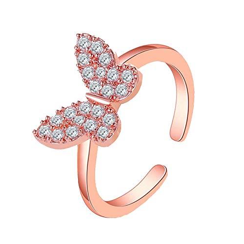 ASR Anillo de mariposa para mujer, para vacaciones, fiestas, compromiso, reuniones, citas, banquetes, cenas, bodas, decoración de diamantes de imitación