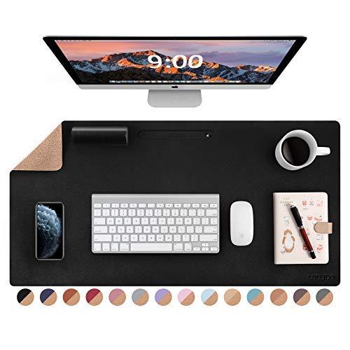 Almohadilla de escritorio de doble cara de corcho natural y cuero, de 32 x 16 pulgadas, impermeable, de piel sintética, alfombrilla de ratón grande