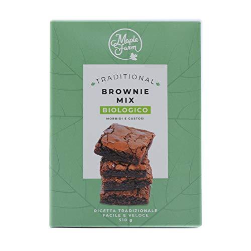 MapleFarm - Preparato per brownie BIOLOGICO - Astuccio 510g - Classic BROWNIE MIX BIO - Preparato per Chocolate Brownies BIO