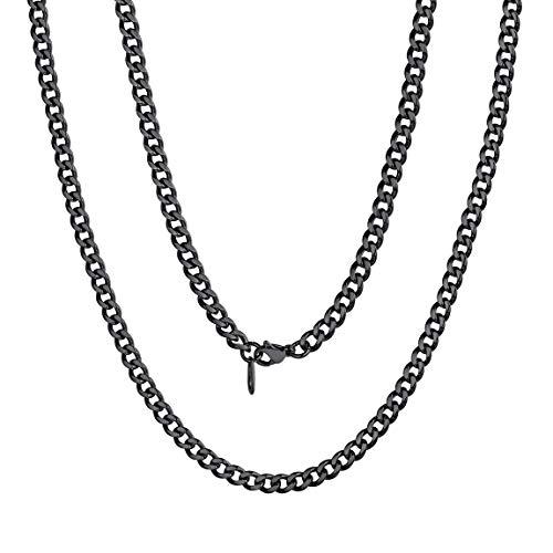 ChainsPro Cadena Impermeable Diseño Italiano Collar Liso Acero Inoxidable Metal 5mm 56cm Longitud Joyería Sólida Hip Hop Miami
