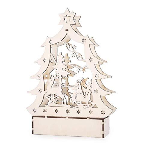 WSJ kerstversiering, huisdecoratie + LED-verlichting + eland creatieve verlichting houten huis, woonkamer, raamdecoratie, high-end