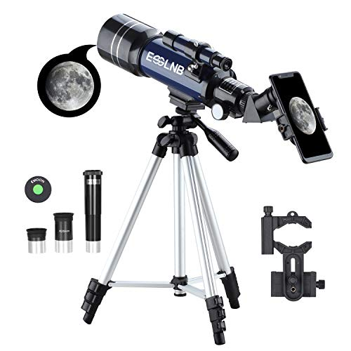 ESSLNB Kids Telescopes for Astronomy Beginners with Phone Adapter 3X Barlow Lens 70mm Astronomical Telescope for Adults with Adjustable Tripod
