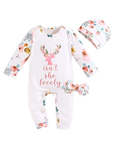 Newborn Baby Girl Clothes Christmas Outfit Set Long Sleeve Romper Jumpsuit Onesies + Hat + Headband Little Sister Outfits 0-3M White