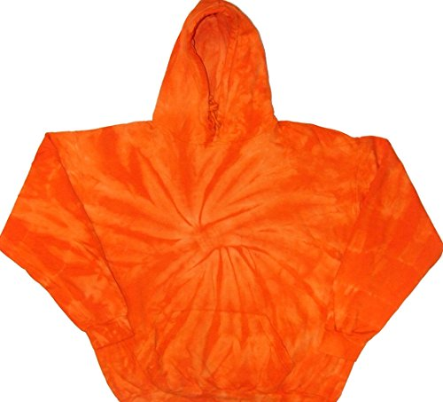 Tie Dyed Shop Halloween Orange Spiral Pullover Tie Dye Hoodie Sweatshirt-Medium