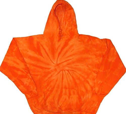 Tie Dyed Shop Halloween Orange Spiral Pullover Tie Dye Hoodie Sweatshirt-Medium