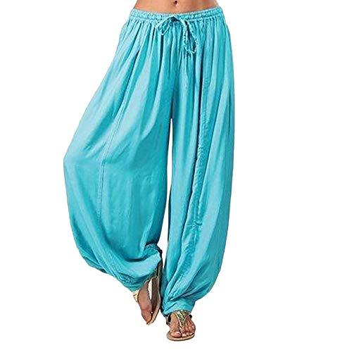 Haremshose Damen Sommerhose Damen Leicht Pumphose Culottes Hosen Boho Hose Plus Size Volltonfarbe Loose Yoga Umstandshose Hippie Kleidung Haremshosen Frauen Aladinhose (Blue, L)