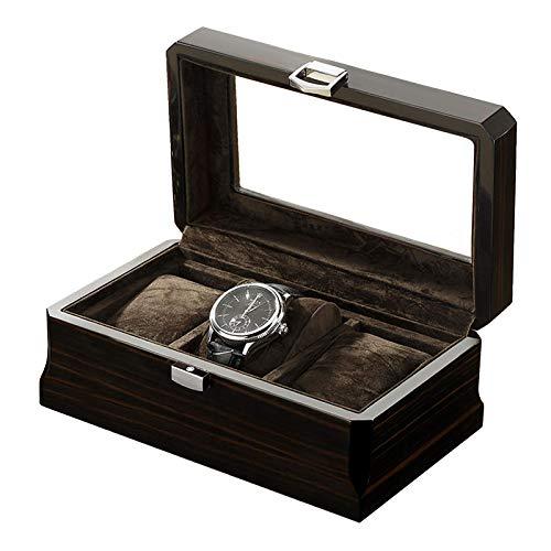 XXCHUIJU Caja de Reloj de 3 Ranuras, Soporte de Reloj de Madera con Tapa de Vidrio, Estuche para Hombres con Almohada de Reloj extraíble, Forro de Terciopelo, Cierre de Metal, Negro