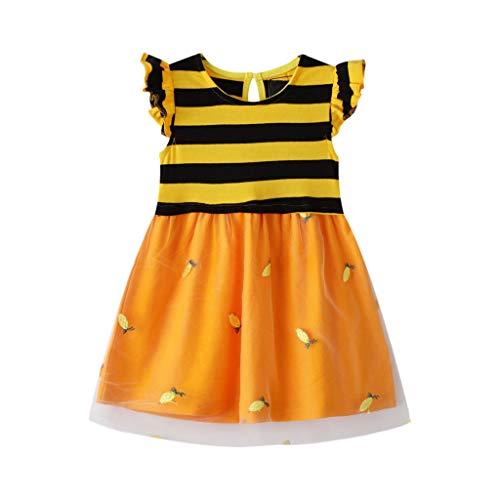 Cover Baby Mädchen Kleider Biene Muster Streifen Tüll Kleid Sommerkleider Freizeitkleid