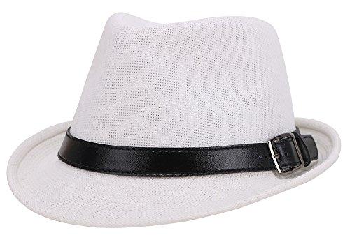 Jasmine Straw Hat Men Short Brim Miami Beach Panama Fedora Straw Hat,Black,LXL